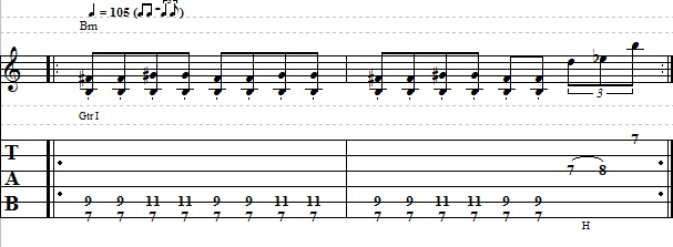 Easy Rhythm Blues Shuffle Riff on Guitar