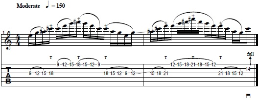 Diminished Guitar Lick with Tapping & String Skipping