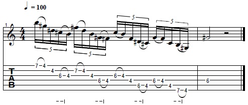 Two Note Per String Pentatonic Sweeping Lick in G#m -- Lead Guitar Lesson on Pentatonic Licks